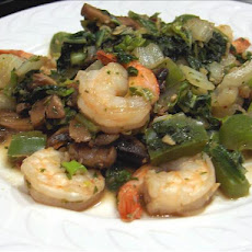 Shrimp Stir-Fry With Bok Choy, Mushrooms & Peppers