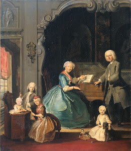 RIJKS: Cornelis Troost: Family Group near a Harpsichord 1739