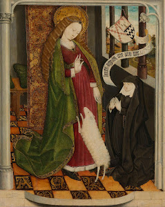 RIJKS: anoniem: Geertruy Haeck Kneeling in Adoration before Saint Agnes 1465
