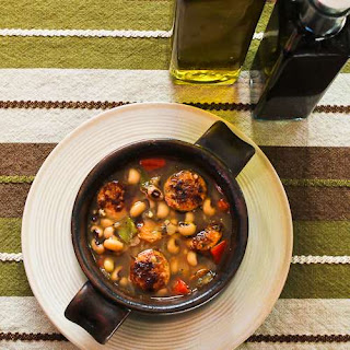 Lucky Black-Eyed Pea Soup with Chicken-Garlic Sausage and Bell Peppers