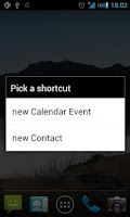 Screenshot of Shortcuts new Event/Contact