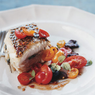 Roasted Black Sea Bass with Tomato and Olive Salad