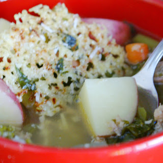 Sausage & Kale Crockpot Soup with a Lemon Basil Parmesan Snow Flake