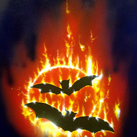 Fire Bats by Kevin Dietze - Painting All Painting