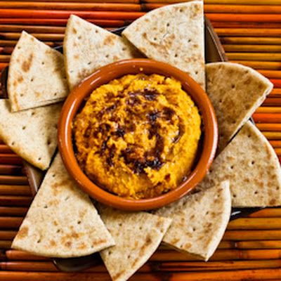 Sweet Potato Hummus with Olive Oil and Sumac