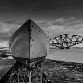 Boat n Bridge by Martin Westland - Novices Only Objects & Still Life ( grayscale, scotland, south queensferry, edinburgh, queensferry, bridge, boat )