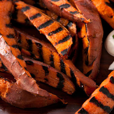 Grilled Sweet Potatoes with Sour Cream and Lime