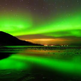 Aurora reflection by Marius Birkeland - Landscapes Waterscapes ( reflection, aurora borealis, aurora, reflections, landscape,  )