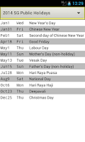 Screenshot of SG Holiday Calendar 2015