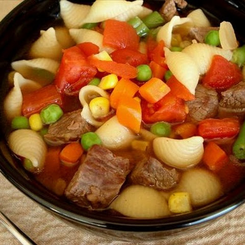 Beef and Pasta Confetti Soup