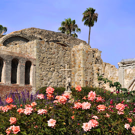 Mission San Juan Capistrano by Jane Singer - Buildings & Architecture Places of Worship ( san juan capistrano, mission, father junípero serra, bells, roses, flowers )