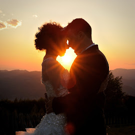 Sunset by Klaudia Klu - Wedding Bride & Groom ( sunset, wedding, bride, groom )