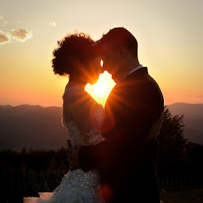 Sunset by Klaudia Klu - Wedding Bride & Groom ( sunset, wedding, bride, groom, Wedding, Weddings, Marriage,  )