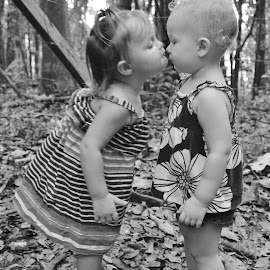 First Kiss by Susan McDavit - Babies & Children Children Candids ( love, kiss, babies, black and white, children, toddlers, portrait, improving mood, moods, red, the mood factory, inspirational, passion, passionate, enthusiasm,  )