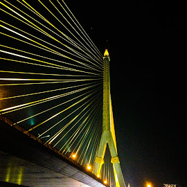 Rama VIII Bridge by Mike O'Connor - Buildings & Architecture Bridges & Suspended Structures ( lights, bangkok, suspension, night, bridge,  )