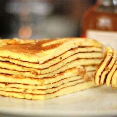 Grandma's Cottage Cheese Pancakes with Blood Orange Syrup