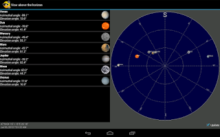 Screenshot of Sun, moon and planets