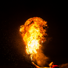 taming fire by Gabriel Lungu - People Musicians & Entertainers ( gas, performer, fire )