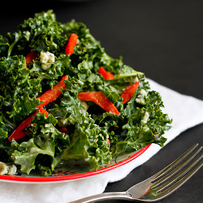 Chopped Kale Salad Recipe with Gorgonzola & Dijon Yogurt Dressing