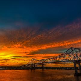 Bridge to Dawn by Alex Iacobet - Landscapes Sunsets & Sunrises ( new orleans, bridge, sunrise )