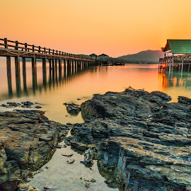 3 elements by JethroLlarenas Abagao - Buildings & Architecture Bridges & Suspended Structures ( water, waterscape, sunset, landscape photography, house, bridge, sunrise, rocks )