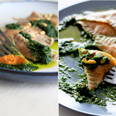 Spelt And Chia Seed Ravioli With Sweet Potato Filling And Kale Pesto