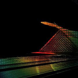 Milwaukee Art Museum by Tricia Scott - Digital Art Places ( milwaukee, wisconsin, colorful, art, museum, digital, rainbow )