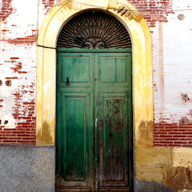 Green doors Carratraca by Anita Berghoef - Buildings & Architecture Architectural Detail ( doors, urban, old, carratraca, green, door, steps, architecture, spain )