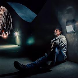 Moody Blues by Michele Dan - People Portraits of Men ( night photography, men, bridges, portraits, light, portraits of men, portrait )
