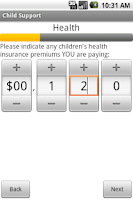 Screenshot of Child Support Calculator NC