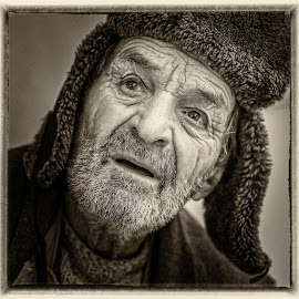 +90 by Hurghis Vasile - People Portraits of Men ( expression, urban exploration, strong, black and white, vintage, still life, portret, street, digital art, old man, people )
