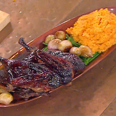 Emeril's Atlanta's Port Wine Glazed Roasted Duck with Pureed Sweet Potatoes, Haricots Verts and Roasted Shallots