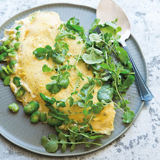 Fava Bean and Ricotta Omelette with Spring Greens