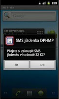 Screenshot of SMS jízdenka 32 Kč