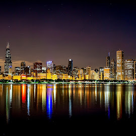 Chicago 30 minutes before dawn by Paul Stonehouse - City,  Street & Park  Skylines ( chicago skyline, skyline, lake michigan, lake front, skylines, chicago )