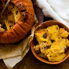 Stuffed pumpkin with cheese, bacon and chipotle chiles (adapted from recipes by Dorie Greenspan and Ian Knauer)