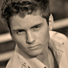 Seriously Sepia by Taylor Gillen - People Portraits of Men ( headshot, sepia, hot, young, serious, portrait, man )