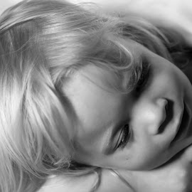 Deep Thought by Troy Wheatley - Babies & Children Child Portraits ( child, resting, blonde, peaceful, black and white, eyelashes )