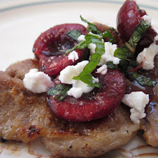 Lemongrass Pork Chops with Minted Cherry Salsa