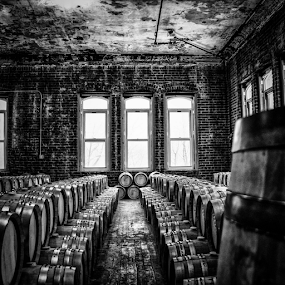 Patience for Perfection by Chris Mare - Black & White Buildings & Architecture ( building, barrels, whiskey, black and white, bw, buildings, indoors, windows, new york, aging, brooklyn )