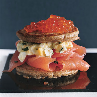 Caviar and Salmon Blini Tortes