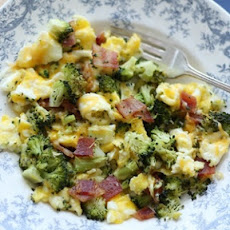 Cheesy Broccoli and Bacon Scramble