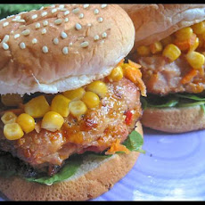 Cheesy Chicken Burger W/ Corn & Carrot Relish