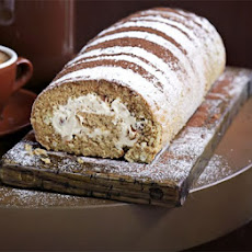 Coffee & walnut Swiss roll