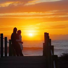 Romance at sunset by Antonio Amen - People Couples ( pair, woman, sunset, path, couple, romance, man )