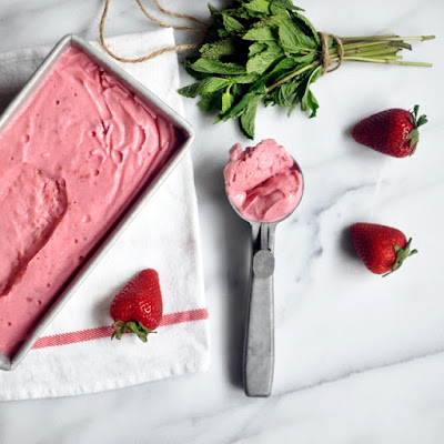 Strawberry-Raspberry and Mint Frozen Yogurt