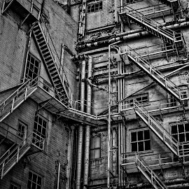 Back of House by Paulo Peres - Buildings & Architecture Decaying & Abandoned ( stairs, black and white, el paso, complexity, back, downtown, abandoned,  )