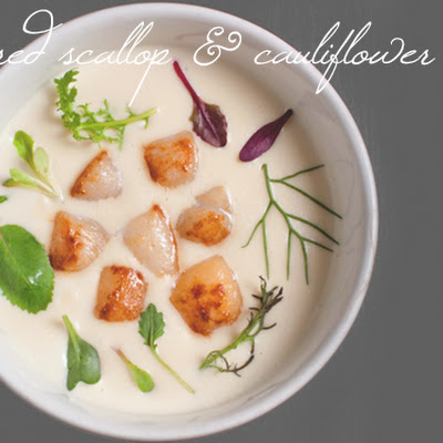 Cauliflower Soup with Scallops and Brown Butter