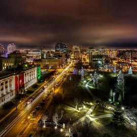 Winter Wonderland by Jiabi Yang - City,  Street & Park  Night ( canada, london, night scene, ontario, city )