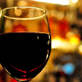 Cheers by Diana Desrocher - Food & Drink Alcohol & Drinks ( lights, wine, red, glass, bar )